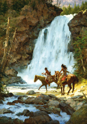 Crossing Below the Falls by Howard Terpning