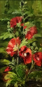 Red Hollyhocks by Sheri Jones 8x16
