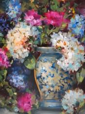 Hydrangeas and Pink Carnations By Nancy Medina