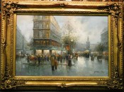 French Street Scene Rainy Day By T. Pencke