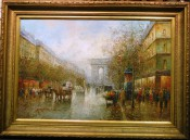 Street Scene in France with Arch de Triomphe By T. Pencke