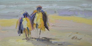 Fred and Ethel Walk The Beach By Sharon Hodges