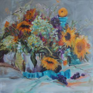 Sunflowers, Hydrangeas and Grapes By Kay Wyne