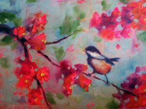 Chick-a-dee And Cherry Blossoms By Charice Cooper