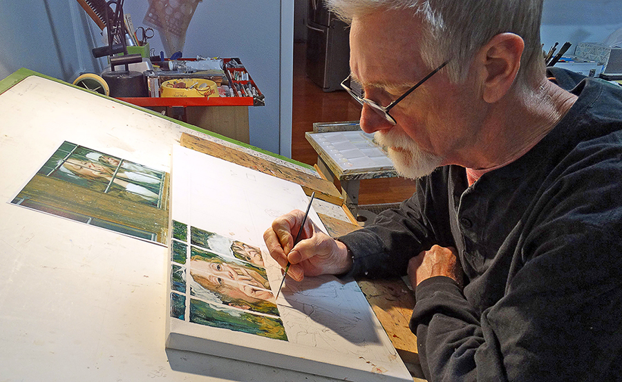 Artist Steve Hahn at work